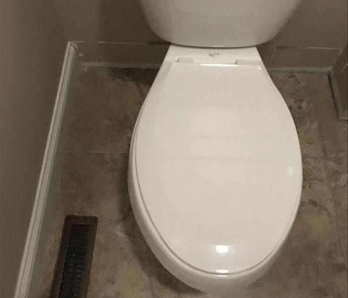 Floor around toilet is dingy and the trim on the wall has been pulled off for cleaning
