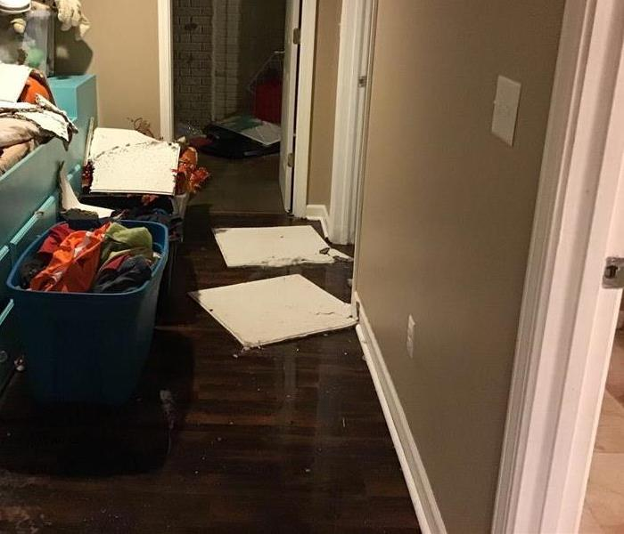 Bad flood in the hallway of a house. Hardwood flooring.