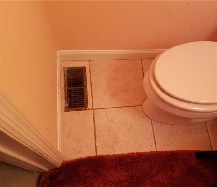Repaired bathroom floor and trim.