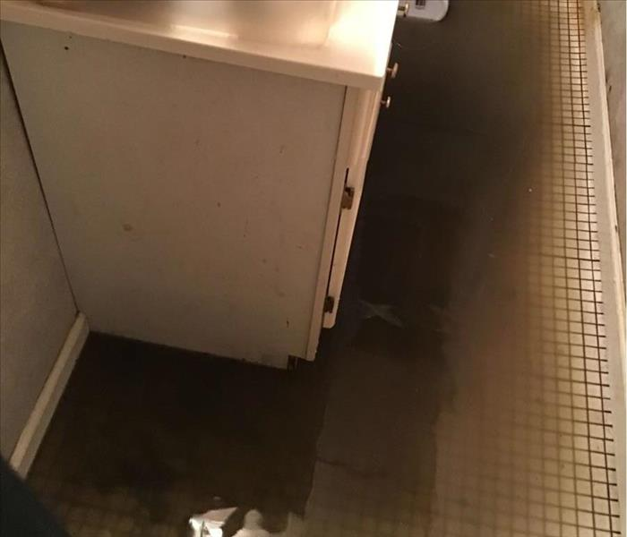 Bathroom floor completely flooded with water.