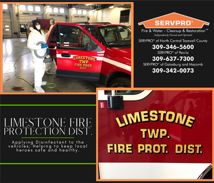 Fogging the Limestone Fire Protection District vehicles.