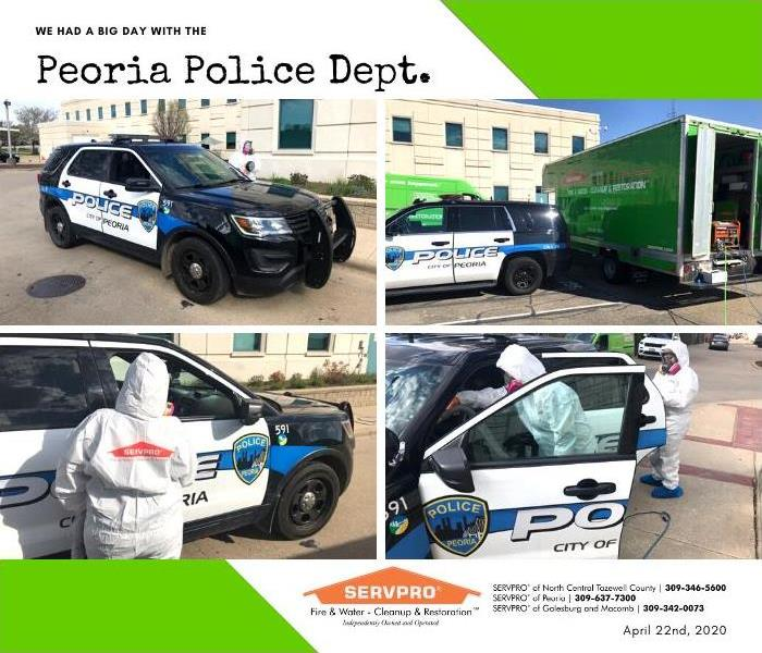 Images of our team helping to apply disinfectant to the Peoria Police Department Vehicles.