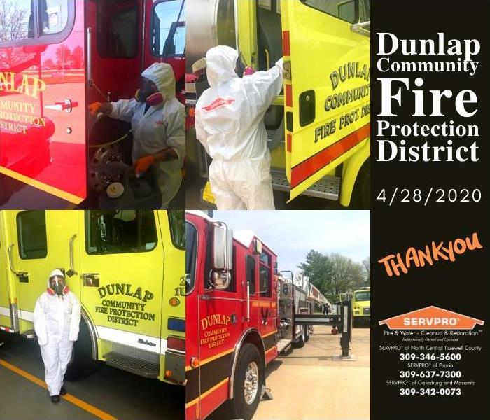 Images of our team helping to apply disinfectant to the fire trucks.