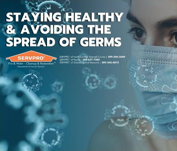 Title Card - Germs surrounding a woman in a breathing mask.